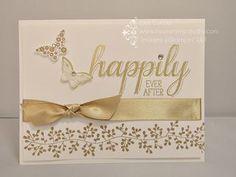 Golden Wedding Anniversary card  Stampin' Up!, Big News, Bordering Blooms, Papillon  Potpourri, satin ribbon, heat emboss, card, paper, scrapbook, craft, rubber, stamps, www.lisasstampstudio.com