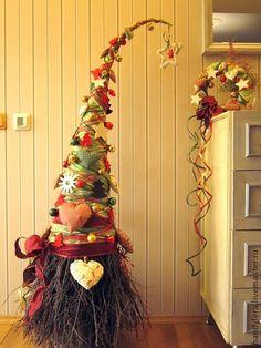 Новый год 2013 ручной работы. Ярмарка Мастеров - ручная работа комплект из елочки и венка Душевный. Handmade.