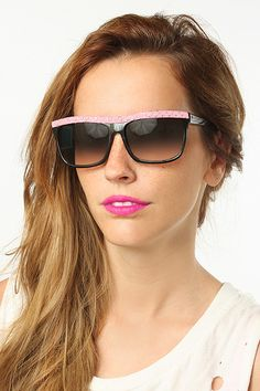 'Sparkle' Oversized Flat Top Sunglasses - Pink Polka Dot - 5217-4