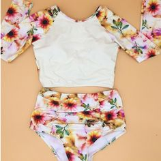 High Waist Swimsuits Women Bikinis Push Up Printing Floral Style Biquinis High Neck Long Sleeve Bikinis Set Swim Suits-in Bikinis Set from Sports & Entertainment on Aliexpress.com | Alibaba Group