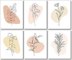 Abstract Line Art, Floral Wall Art, Diy Canvas Art, Minimalist Art, Minimalist Floral Tattoo, Diy Art, Watercolor Art, Art Prints, Framed Prints