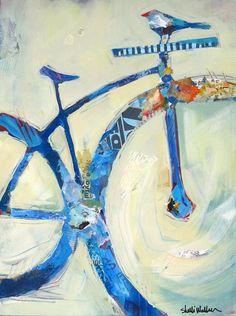 Blue Mountain Bike Original Painting by Shelli Walters on Etsy Bird Canvas, Canvas Art, Canvas Prints, Pintura Graffiti, Art Du Collage, Bicycle Art, Bicycle Design, Bicycle Painting, Cycling Art
