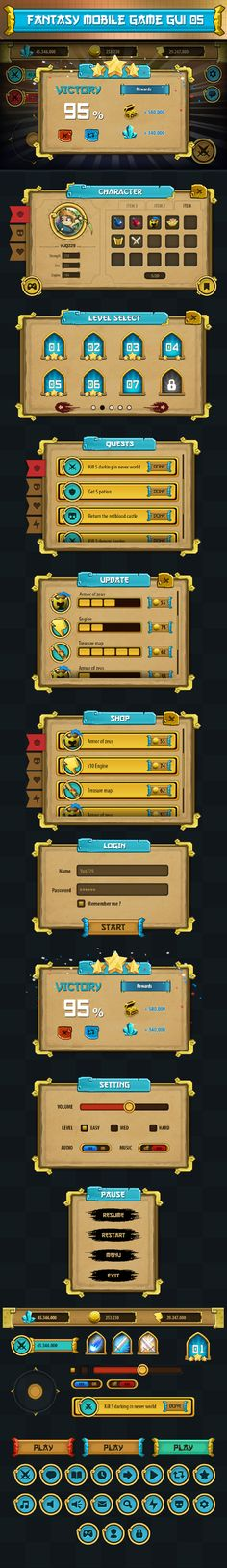 game gui pack 05 by Ryan Do, via Behance