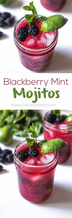 My favorite spring time cocktail! Blackberry Mint Mojitos made with fresh blackberry juice.