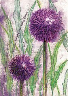 Purple flowers by Frances Pickering Long Stem Flowers, Purple Flowers, Agapanthus, Allium, Watercolor Flowers, Watercolor Art, Stitch Book, Fabric Journals, Thread Painting