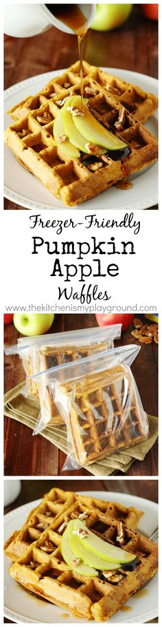 Pumpkin-Apple Waffles ~ Freezer-friendly, so make a big batch when you can. Then have a quick-and-easy breakfast on hand! www.thekitchenismyplayground.com