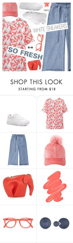 """So Fresh: White Sneakers"" by pokadoll ❤ liked on Polyvore featuring Loewe, Obsessive Compulsive Cosmetics and Anne Klein"