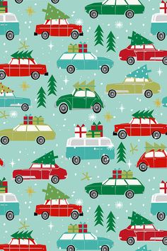 Vintage Christmas Holiday Cars by charlottewinter - Hand illustrated cars with Christmas gifts and trees on top. White snowflakes on a teal background make this adorable Christmas design sparkle! We love indy designer Charlotte Winter's take on the holidays with this unique illustration on fabric, wallpaper, and gift wrap. #holiday #christmastree #xmas #diyholiday #fabric #surfacedesign #christmastravel #homefortheholidays #holidayspirit