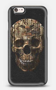 Vintage American Tattoo Skull Wood Stripes Texture Phone Case