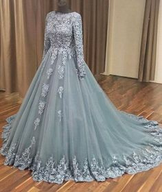 Outlet Absorbing Grey Wedding Dress A-line Grey Tulle Lace Appliqued Long Sleeves Wedding Dresses Quinceanera Dresses Grey Evening Dresses, Grey Prom Dress, Prom Dresses Long With Sleeves, A Line Prom Dresses, Tulle Prom Dress, Long Wedding Dresses, Homecoming Dresses, Lace Dress, Tulle Lace
