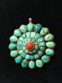 Tibetan gold pendant, turquoise and coral inlaid