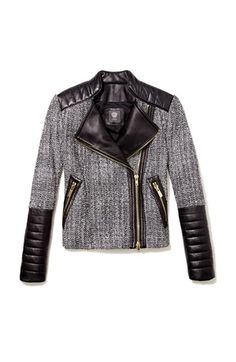Vince Camuto Tweed & Faux Leather Moto Jacket | Nordstrom