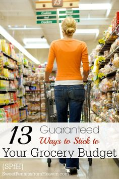 Here are 13 Guaranteed Ways that you can start using NOW to Stick to Your Grocery Budget! School is back in, the kids have hectic schedules, and the drive-thru is easy dinner on a crazy night. But you start to see your grocery budget slowly disappearing while there's not much to eat at home. Get your grocery budget BACK ON TRACK now!