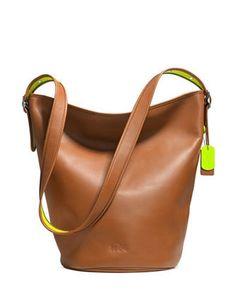 Coach C.O.A.C.H. Neon Duffle Shoulder Bag In Calf Leather