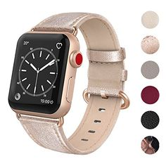 SWEES Leather Band Compatible for Apple Watch Genuine Leather Elegant Dressy Strap Compatible iWatch Apple Watch Series 5 Series 4 Series 3 Series 2 Series 1 Sport Edition Women, Rose Gold Gold Apple Watch, Apple Watch Bands, Apple Watch Replacement Bands, Bracelet Sport, Hand Watch, Bracelet Cuir, Apple Watch Series 3, Bracelets, Rose Gold