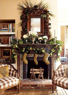 White Christmas Decorating Ideas | Elegant Christmas Fireplace Mantel Decor Idea with Gold Socks, Broen ...