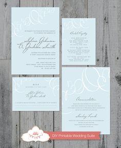 Printable Wedding Invitation Suite by liddleladybug on Etsy