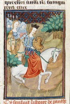 BL Royal 16 G V f.35v - Penthesilia, the queen of the Amazons, on horseback.[De claris mulieribus in an anonymous French translation (Le livre de femmes nobles et renomées) - G. Boccaccio - 1440] [http://en.wikipedia.org/wiki/De_mulieribus_claris]