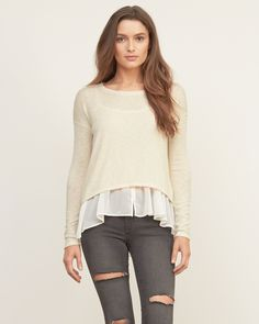 Womens Chiffon Shirttail Snit | The two-for-one cozy snit is layered with a chiffon cami, a flowy hemline finished with comfortable crew neck and long sleeves, Classic Fit | Abercrombie.com