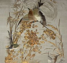 antique Chinese silk embroidery panel....Hundred Birds