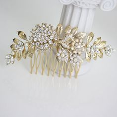 Gold Wedding Hair Piece Bridal hair Comb Vintage by LuluSplendor, $95.00....would not spend that much but would want something similar