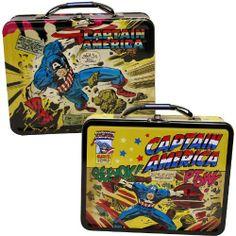 "CAPTAIN AMERICA LUNCH BOX by Tin Box Company. $8.99. Metal lunch box. 7 3/4"" X 2 3/4"" X 6"". Marvel Comics' patriotic hero Captain America features on this tin lunch box."