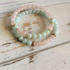 Compassion Bracelet Set of 2 ~ Genuine Amazonite & Rose Quartz Bracelets ~ Choice of 6mm or 8mm