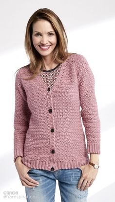 Adult Crochet V-Neck Cardigan (XS-5X) - free aran weight pattern by Caron at Yarnspirations.