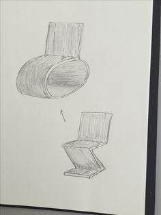 【C】デザイン情報特別講義で豊田さんが来たときにした椅子の特徴をカードで交換したときにできたものを絵にしてみた。ジグザグチェアの膝の裏痛くなりそう問題が解決できそう。かっこいいかはまた別の話。