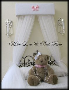 Bed Canopy Crown Crib Shabby chic White lace by SoZoeyBoutique, $49.94