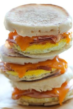 Make these hearty Breakfast Sandwiches whenever you have a free moment and keep them in the freezer for the mornings when you have less than two minutes to grab something fast.