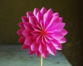 Hot Pink Dahlia, Paper Flower