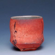 square orange cup by Hannah Meredith - beautiful glaze