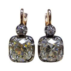 Magnificent Old Mine Diamond Earrings, 19th Century.