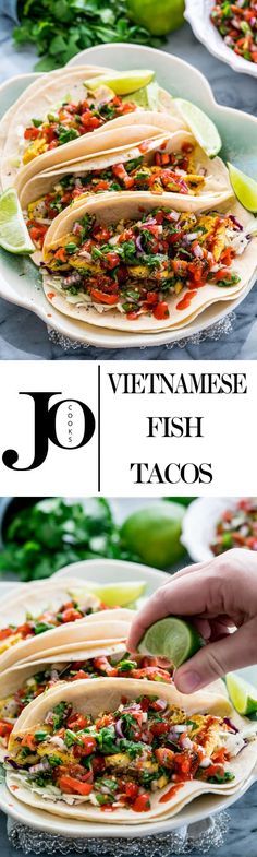 These Vietnamese Fish Tacos feature pan-fried marinated halibut fillets and the freshest tomato and herb salsa. These fish tacos are healthy and refreshing, easy to make and Vietnamese-inspired. www.jocooks.com #fishtacos