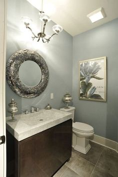 "Sherwin Williams ""Meditative""  I like this color for my main bathroom and maybe with an accent shower curtain (you know how the two curtains on the side are trendy now)"