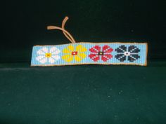 native american bracelet, flower bracelet by deancouchie on Etsy Flower Bracelet, Beaded Bracelet, Native American Beadwork, Dog Collars, Bead Patterns, Nativity, Beading, Projects To Try, Unique Jewelry