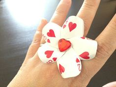 Alice in Wonderland Hearts Poker Card Ring by LittleAsianSweatshop, $18.00 - Mom would love this for card parties <3