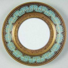 """""""Golden Fire"""" china pattern with turquoise blue rim & ornate gold scroll trim from Chas Field Haviland.:"""