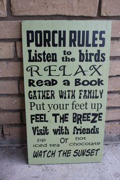 Porch Rules  Wood Subway Art Sign Typography by RyAngelsCreations, $38.00