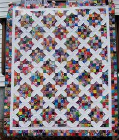 "A scrappy quilt using Arkansas Crossroads blocks. Great for using up ""ugly"" fabrics. #craftster"