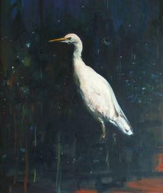 Eva de Visser – Title: Egret (Zilverreiger). Oil on canvas, gold foil. W: 110 cm x H: 130 cm. Dec 2013. Exhibited by Art Gallery De Twee Pauwen, The Hague, April, 2015.