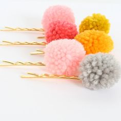 Gold Plated Pom Pom Bobby Pins Set Of two by NestPrettyThingsShop