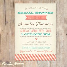 Vintage Bridal Shower Invitation Baby Shower Invite Coral and Turquoise Printable OR Printed Card. $15.00, via Etsy.