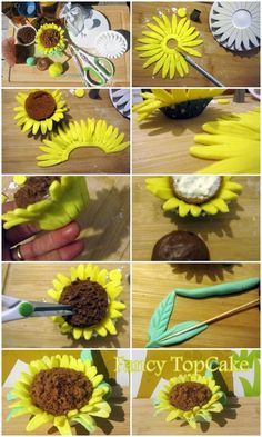 Step by step sunflower cupcakes