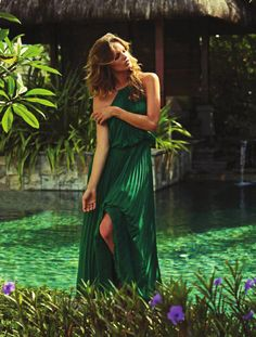 Stefani Sober in a green pleated dress for Femina Switzerland