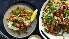 Karen Martini's spicy brown-butter rice with haloumi and pomegranate Vegetarian Dinners, Vegetarian Recipes, Vegetarian Dish, Rice Recipes, Butter Rice, Brown Butter, Karen Martini Recipes, Pomegranate Recipes, Easy Eat