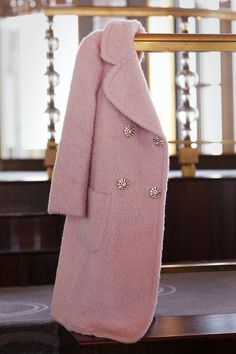 Blush coat with embellished buttons by Kate Spade