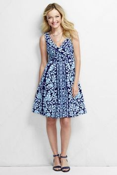 Women's Fit and Flare Dress - Print from Lands' End (but I like Indian Emerald Border print)