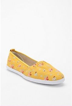 Yellow, slip-on, canvas, flat, with just a touch of femininity.